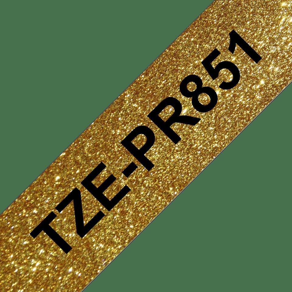 TZe-PR851 labeltape zwart op premium goud - 24mm 3