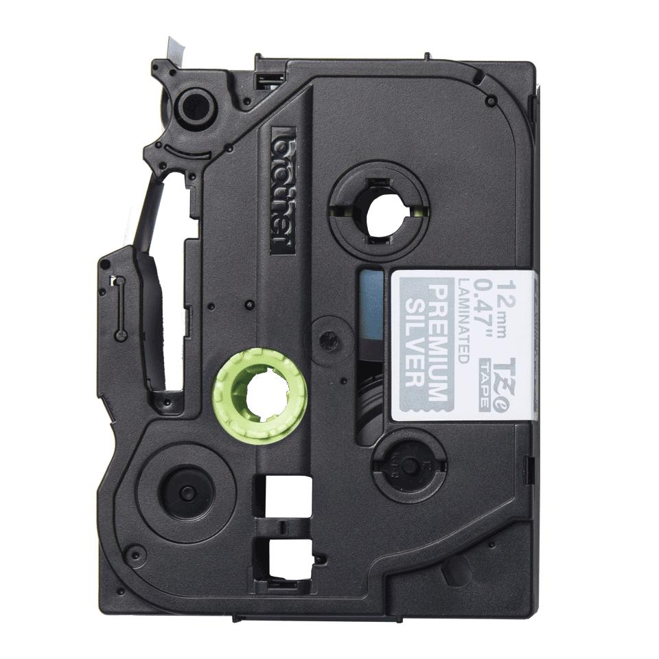 TZe-PR935 labeltape wit op premium zilver - 12mm