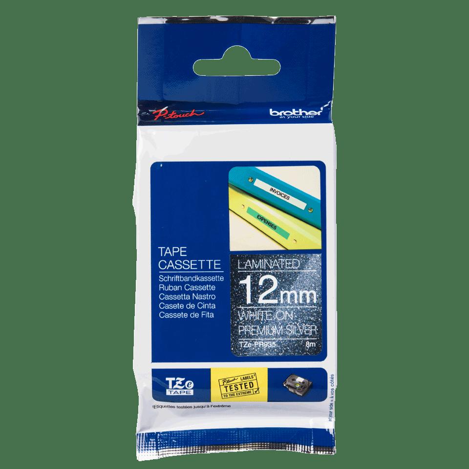 TZe-PR935 ruban d'étiquette blanc sur argent premium - 12mm 2