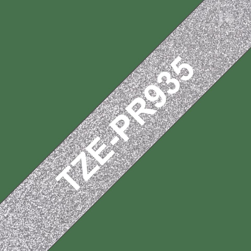 TZe-PR935 ruban d'étiquette blanc sur argent premium - 12mm 3