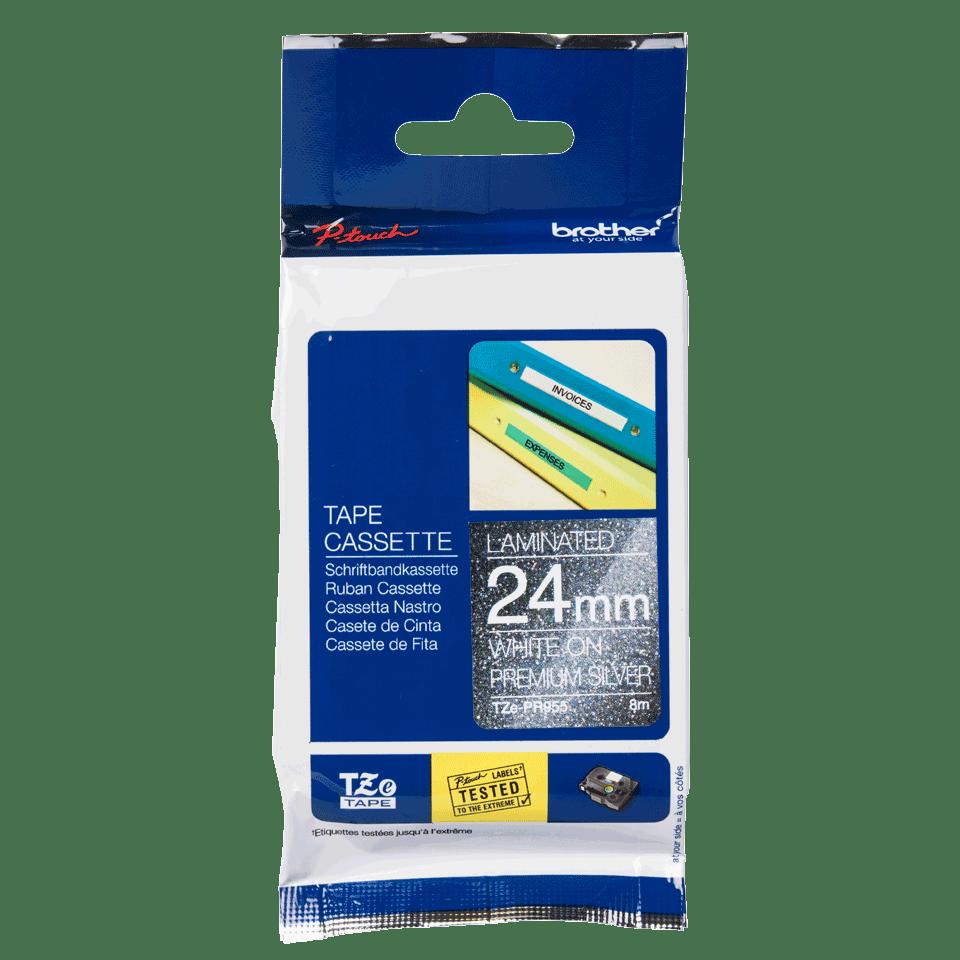 TZe-PR955 ruban d'étiquette blanc sur argent premium - 24mm 2