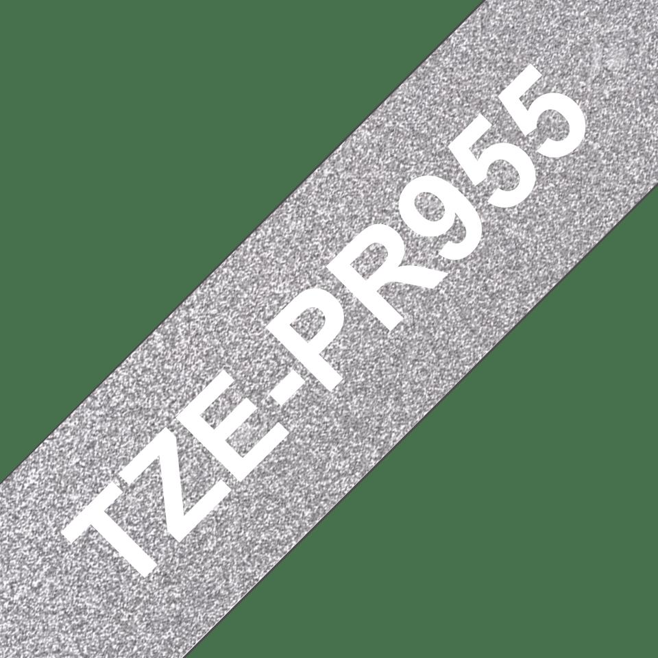 TZe-PR955 ruban d'étiquette blanc sur argent premium - 24mm 3